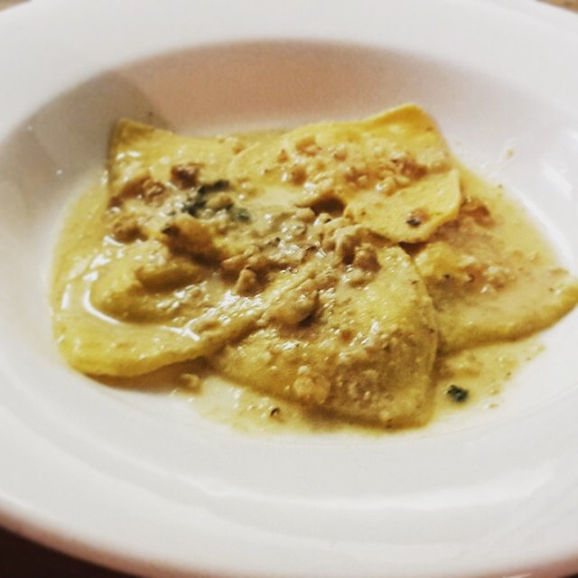 Ricotta, citrus & thyme ravioli in walnut sauce