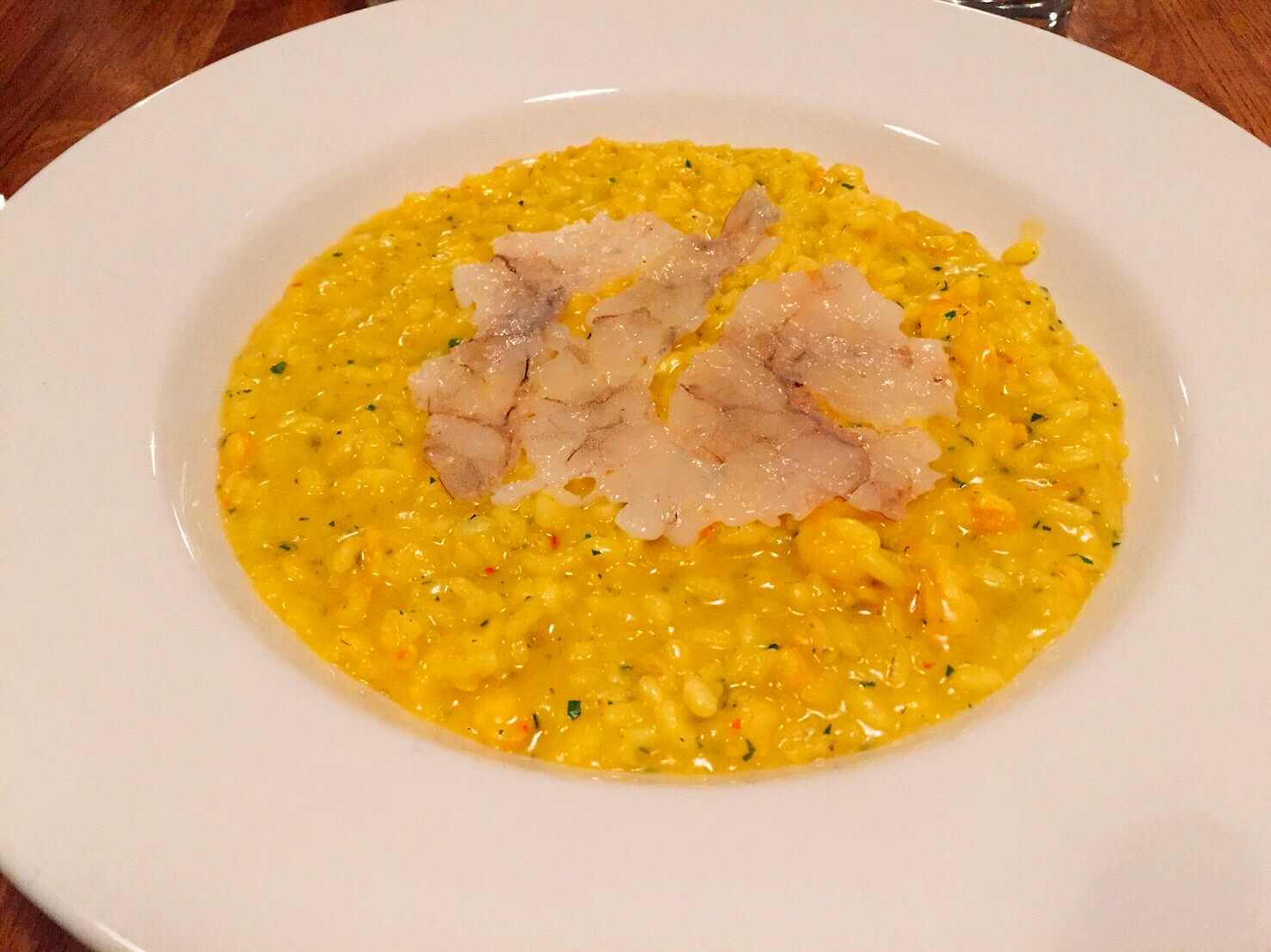 King prawns and saffron risotto