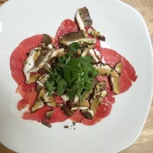 Beef and fresh porcini mushrooms carpaccio