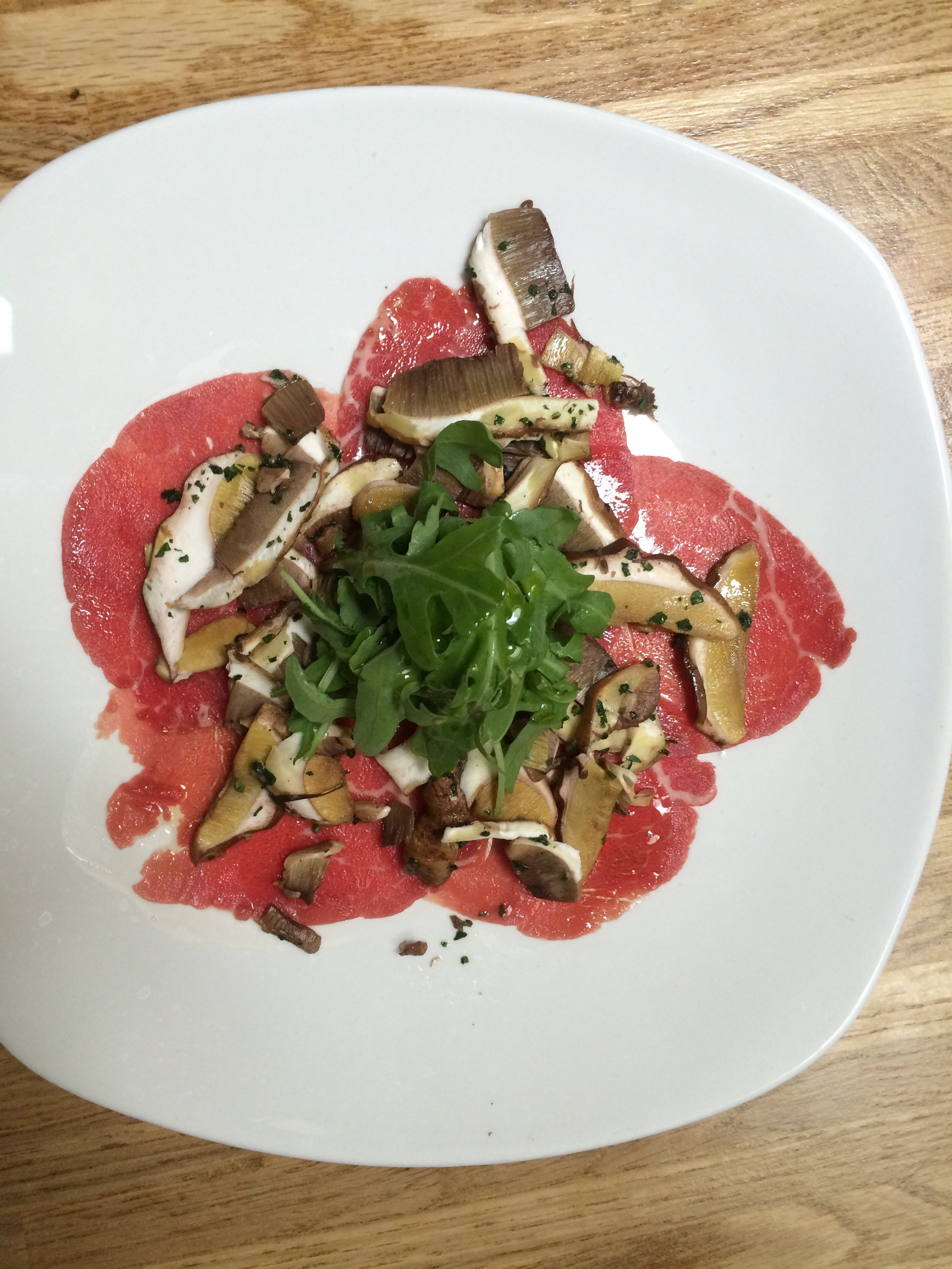 Beef and fresh porcini mushrooms carpaccio