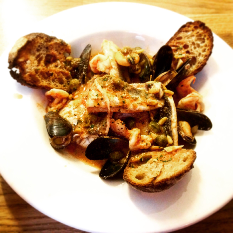 seafood caciucco, gurnard, mussels, prawns, fish stew
